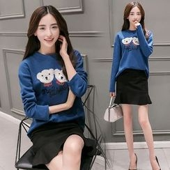 Mandalle - Set: Bear Applique Pullover + Ruffle Hem Mini Skirt