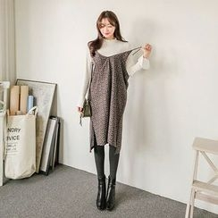 Seoul Fashion - Spaghetti-Strap Patterned Maxi Dress
