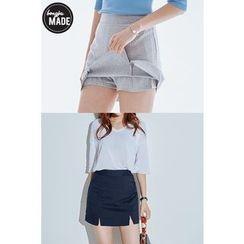 BONGJA SHOP - Inset Shorts Slit-Hem Miniskirt