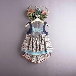 Kidora - 儿童套装: 碎花棉麻无袖上衣 + 短裤