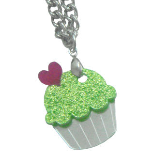 Sweet & Co. - Sweet Glitter Green Mirror Cupcake Silver Necklace