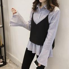 Little V - Set: Striped Peplum Shirt + Camisole Top