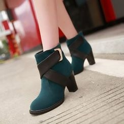 YOUIN - Chunky-Heel Paneled Ankle Boots