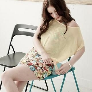D.P-Shop - Set: Asymmetric-Hem Cropped Chiffon Top + Floral Tank Dress