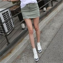 CHICFOX - Inset Shorts Fray-Hem Mini Skirt