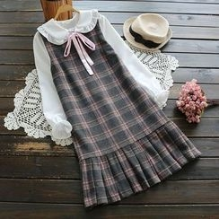 YOYO - Sleeveless Pleated Plaid Dress
