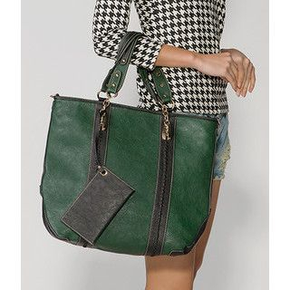 59 Seconds - Contrast Trim Tote with Pouch