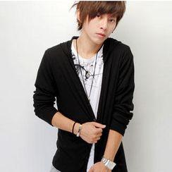SeventyAge - 韓版多層次彈性羅紋連帽罩衫外套