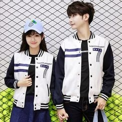 Lovebirds - Couple Printed Baseball Jacket