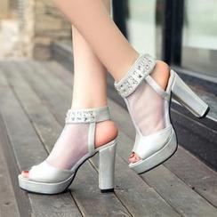 Shoetown - Rhinestone Platform Heel Ankle Sandal Boots