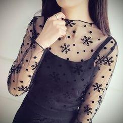 Munai - Long-Sleeve Lace Top