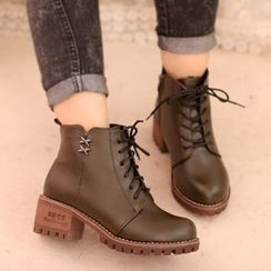 IYATO - Lace-Up Fleece-Lined Ankle Boots