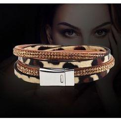 KINNO - Leopard Print Rhinestone Layered Bracelet
