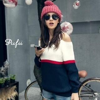 PUFII - Off-Shoulder Color-Block Knit Sweater
