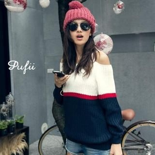 PUFII - Off-Shoulder Color-Block Knit Sweater