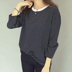 Melon Juice - Pinstriped 3/4-Sleeve T-Shirt