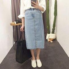 Bloombloom - Long Denim Pencil Skirt