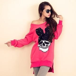 Sweet Dolly - Brushed-Fleece Lined Skull-Print Dress