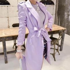 vivaruby - Double-Breasted Trench Coat with Belt