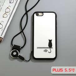 Cartoon Face - Cat Print Mobile Case with Neck Strap - iPhone 5 / 5s / 6 / 6 Plus