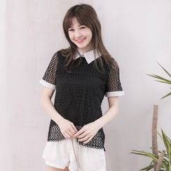 Tokyo Fashion - Contrast Color Perforated Collared Short-Sleeve Top