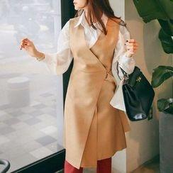 PPGIRL - Wrap-Front Wool Blend Dress
