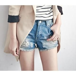 LULUS - Distressed Frayed Beaded Denim Shorts