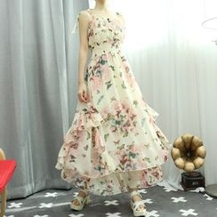 Dodostyle - Floral Patterned Smocked-Panel Sleeveless Chiffon Long Dress