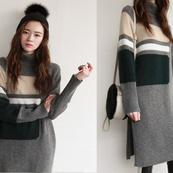 NIPONJJUYA - Turtle-Neck Color-Block Wool Blend Knit Dress