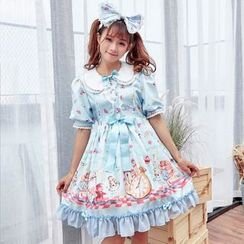 Cosgirl - Bow Accent Printed Short Sleeve Dress