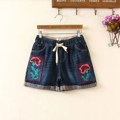 Aigan - Drawstring Washed Embroidered Denim Shorts