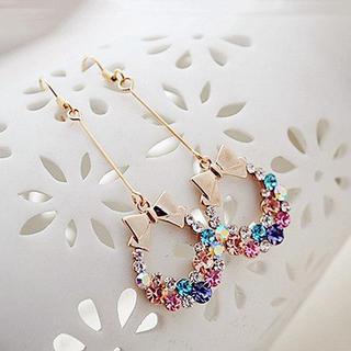 Best Jewellery - Rhinestone Bow Drop Earrings