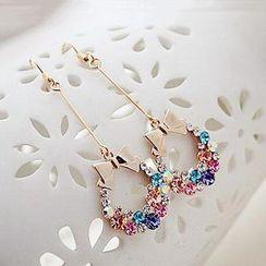 缀好 - 蝴蝶结水晶耳环