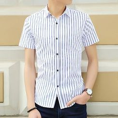 Evzen - Pinstriped Short-Sleeve Shirt