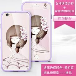 Kindtoy - Set: iPhone 5 Bumper + Girl Print Front And Back Protective Film