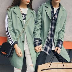 Bay Go Mall - Couple Matching Striped Trench Coat