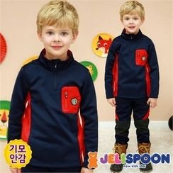 JELISPOON - Boys Set: Funnel-Neck Fleece-Lined Top + Pants