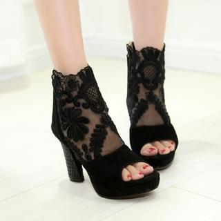 JY Shoes - Open Toe Lace Booties