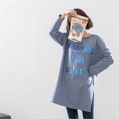 PEPER - Drop-Shoulder Slit-Side Sequined T-Shirt