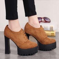 Forkix Boots - Platform Block Heel Lace Ups