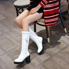 Pretty in Boots - Block Heel Buckled Fleece-Lined Tall Boots