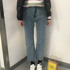 YUKISHU - Fray Hem Cropped Jeans