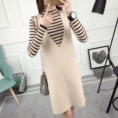 anzoveve - Set: Striped Mock Neck Sweater + Pinafore Dress