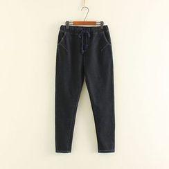 Mushi - Drawstring Fleece-lined Jeans