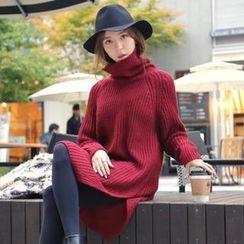 REDOPIN - Turtleneck Rib-Knit Sweater Dress