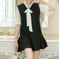 Q.C.T - Elbow-Sleeve Color Block Dress
