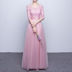 Luxury Style - Lace Panel Elbow-Sleeve Sheath Evening Gown