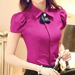 Caroe - Set: Short-Sleeve Blouse + Pencil Skirt