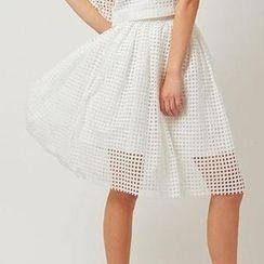 11.STREET - Mesh Sheer Midi Skirt