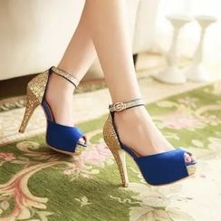 幸福鞋坊 - 帶式厚底高跟鞋